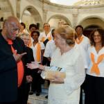 Henri Bistoquet concepteur de l'évènement Un jour Chevalier de St Georges avec Mme le Maire